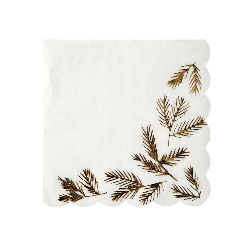 NAPKINS - COCKTAIL GOLD PINE