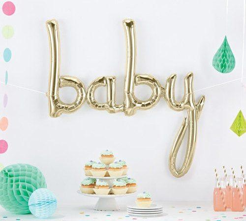 BALLOONS - SCRIPT WHITE GOLD BABY, Balloons, Northstar (Surprize Enterprize) - Bon + Co. Party Studio