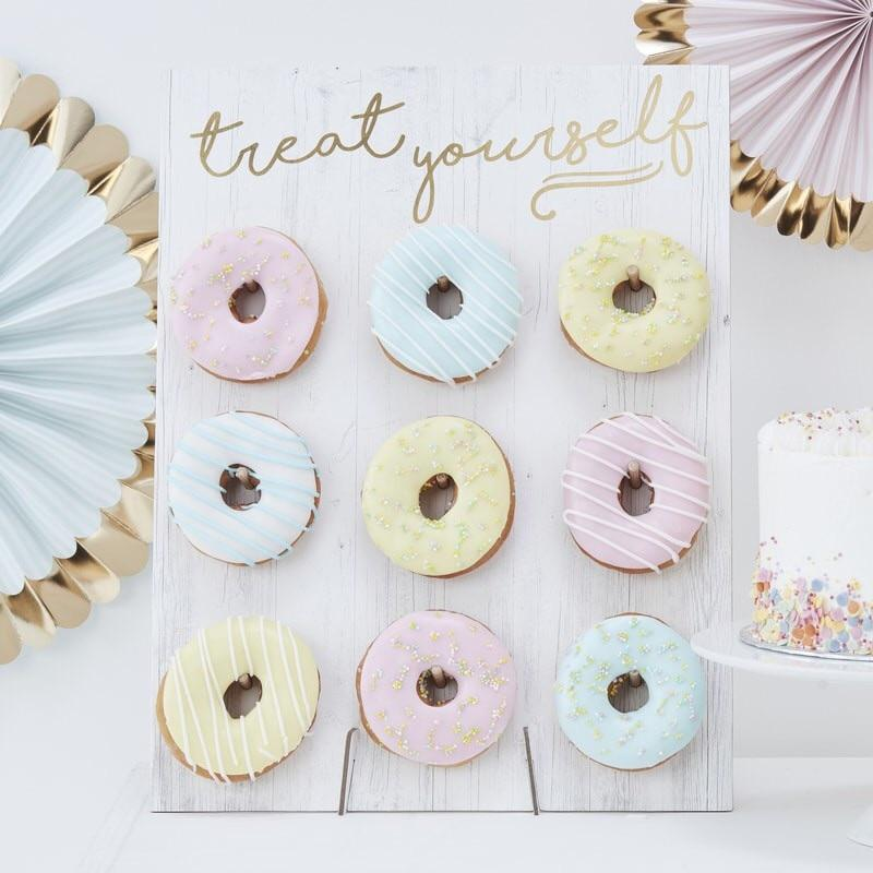 DONUT WALL - WHITE + GOLD, TREAT STAND, GINGER RAY - Bon + Co. Party Studio