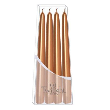 "HOME - TAPER CANDLES 10"" METALLIC ROSEGOLD"