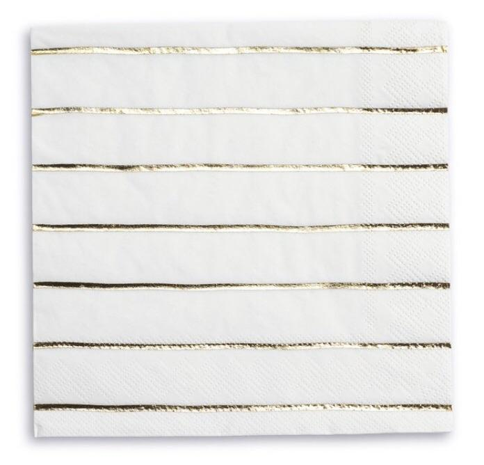 NAPKINS - LARGE DAYDREAM SOCIETY FRENCHIE STRIPES GOLD