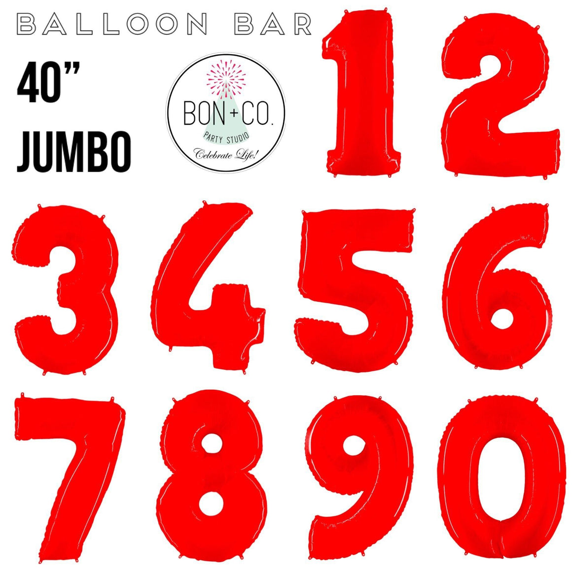 "BALLOON BAR - 40"" JUMBO NUMBER BRIGHT RED, Balloons, bargain balloons - Bon + Co. Party Studio"