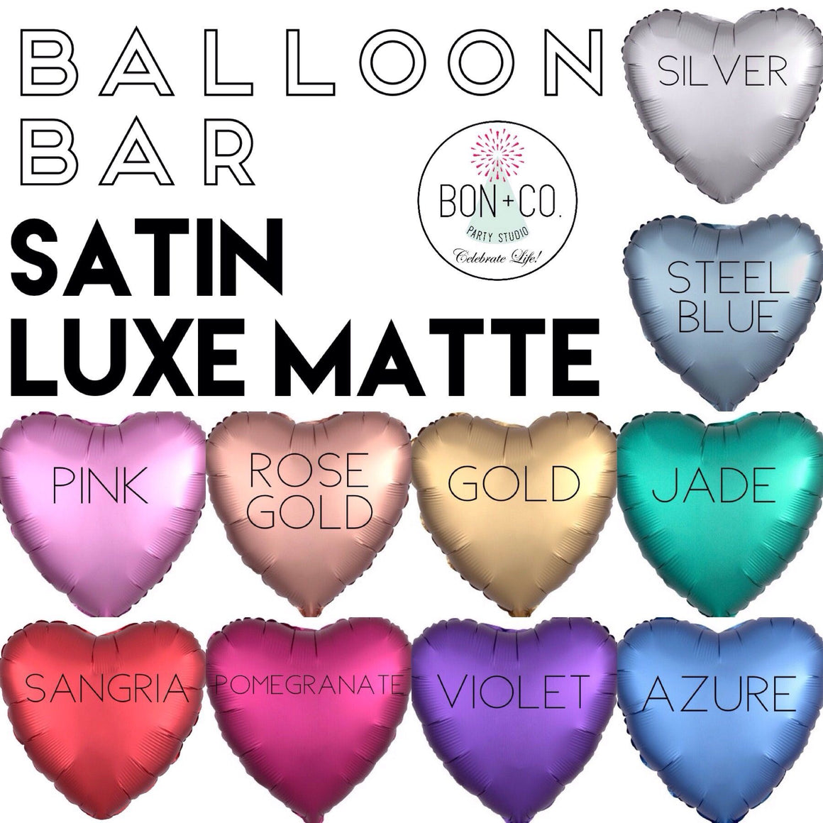 BALLOON BAR - HEART SATIN LUXE, Balloons, Anagram - Bon + Co. Party Studio