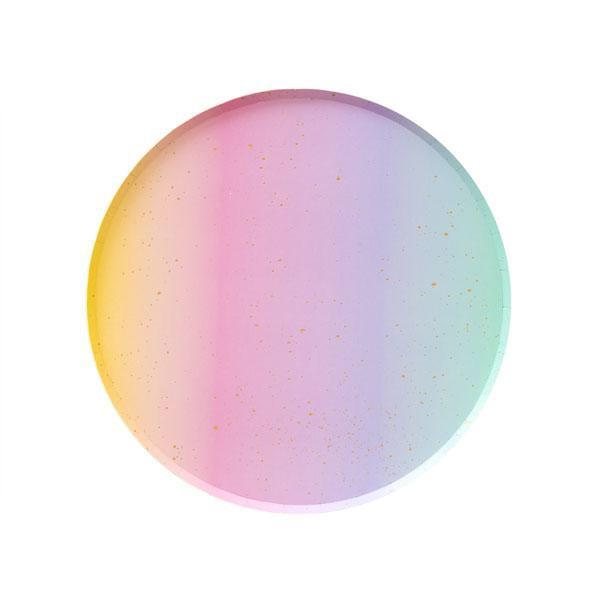 PLATES - SMALL RAINBOW OMBRE OH HAPPY DAY, PLATES, Oh happy day - Bon + Co. Party Studio