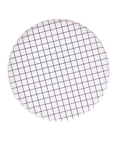 PLATES - LARGE BLACK + WHITE GRID OH HAPPY DAY