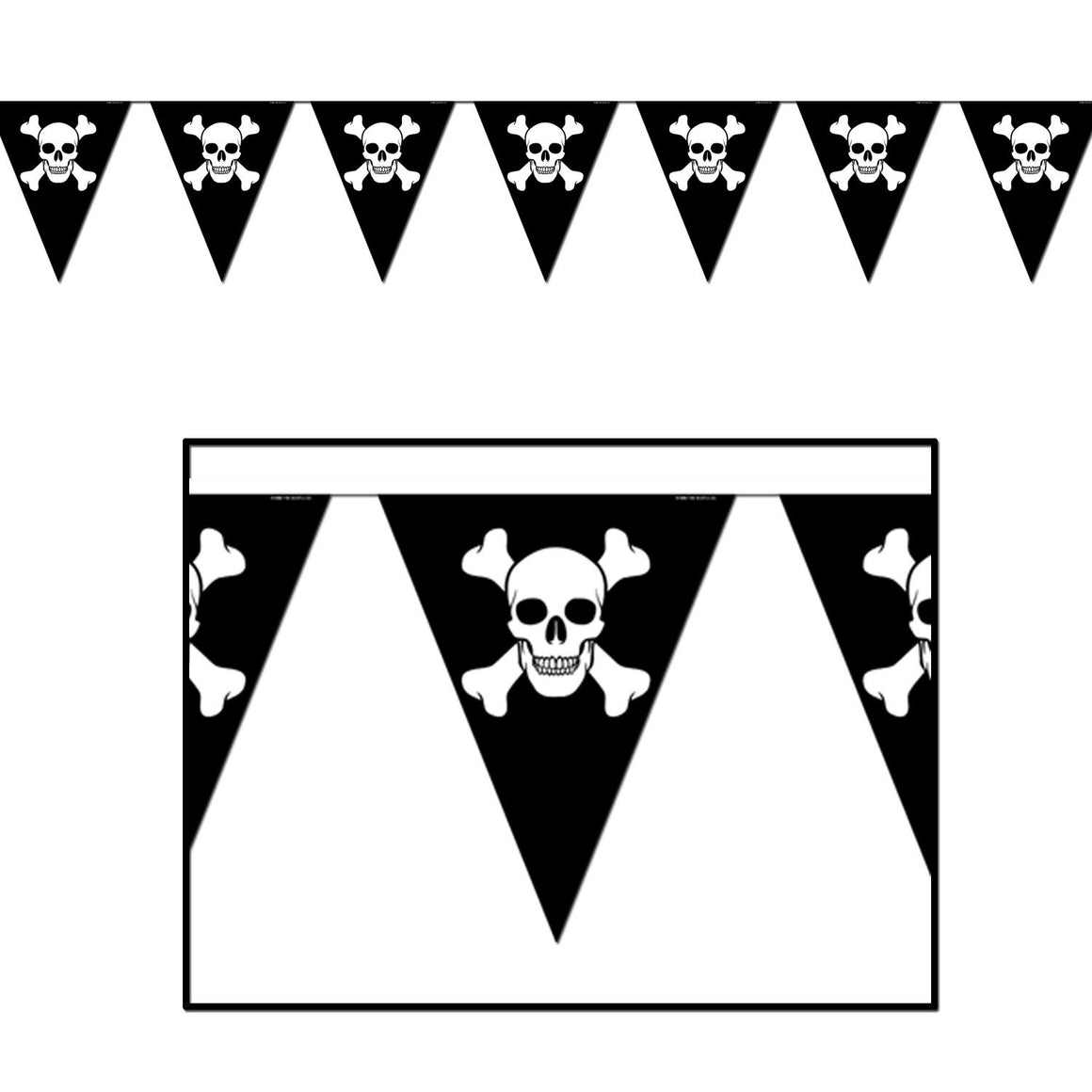 BANNER - PENNANT JOLLY ROGER PIRATE, BANNER, SKS - Beistle Co - Bon + Co. Party Studio