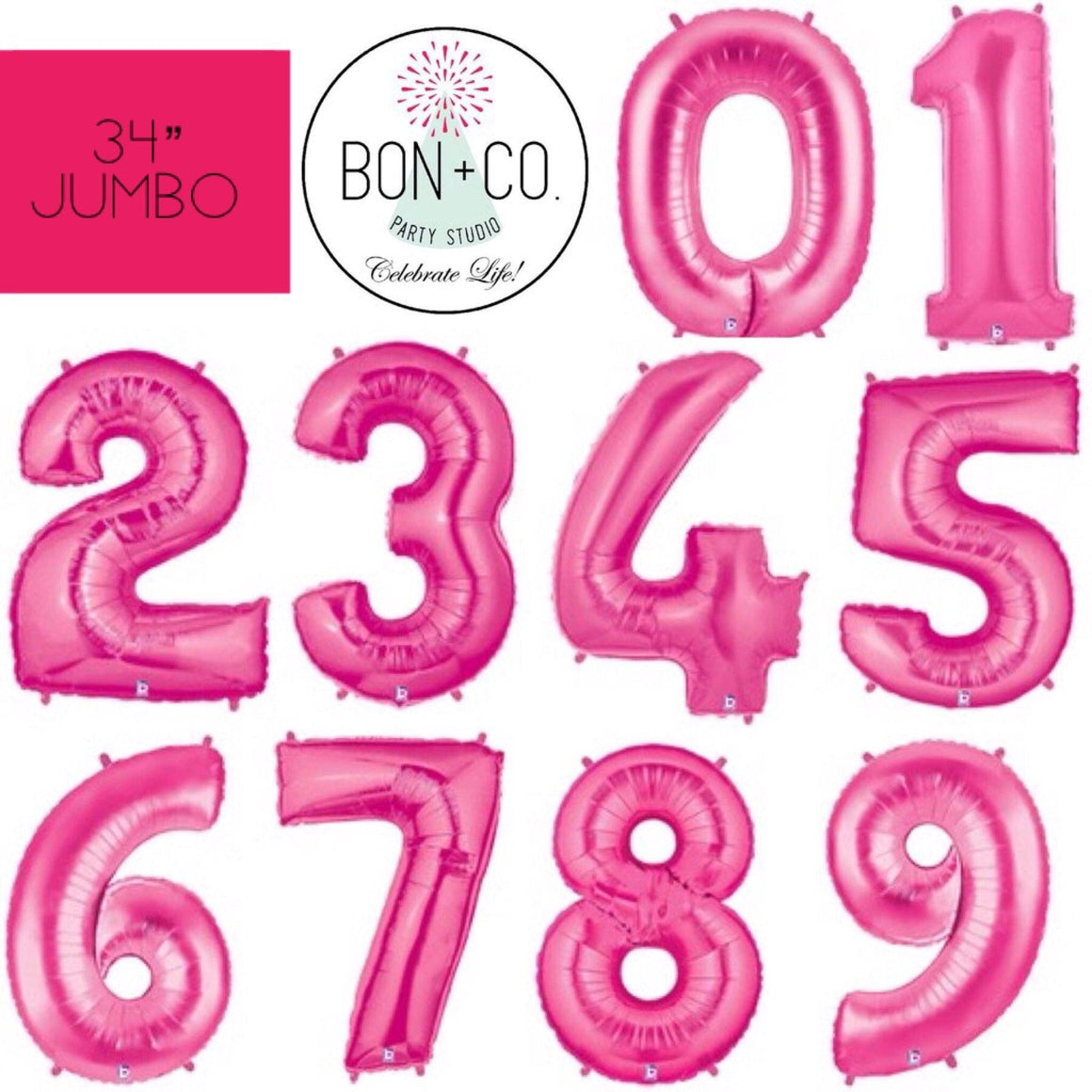 "BALLOON BAR - 34"" JUMBO NUMBER HOT PINK, Balloons, BETALLIC - Bon + Co. Party Studio"