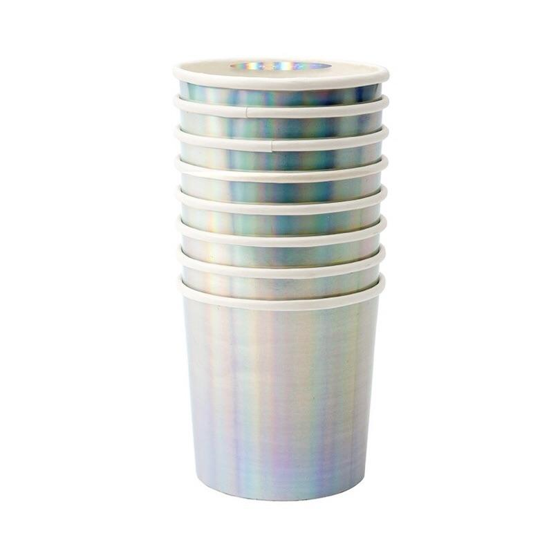 CUPS - MERI MERI TUMBLER SILVER HOLOGRAPHIC, CUPS, MERI MERI - Bon + Co. Party Studio