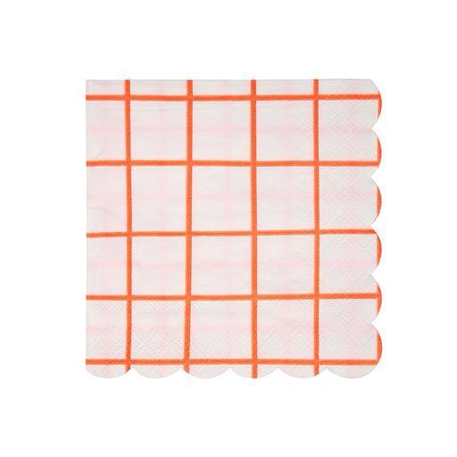 NAPKINS - COCKTAIL CORAL GRID