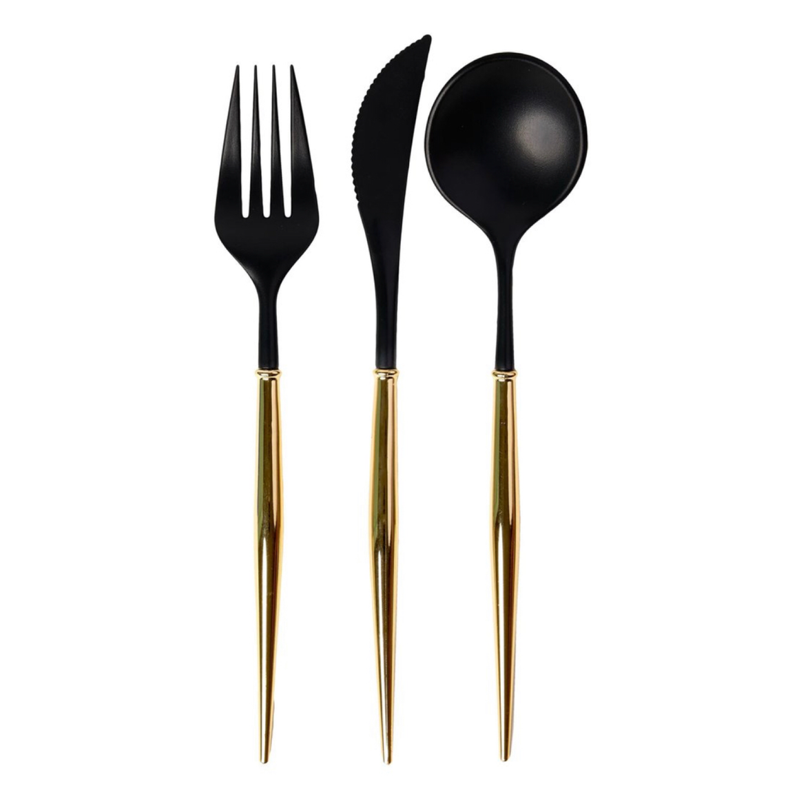 PREMIUM FLATWARE - REUSABLE BELLA BLACK + GOLD