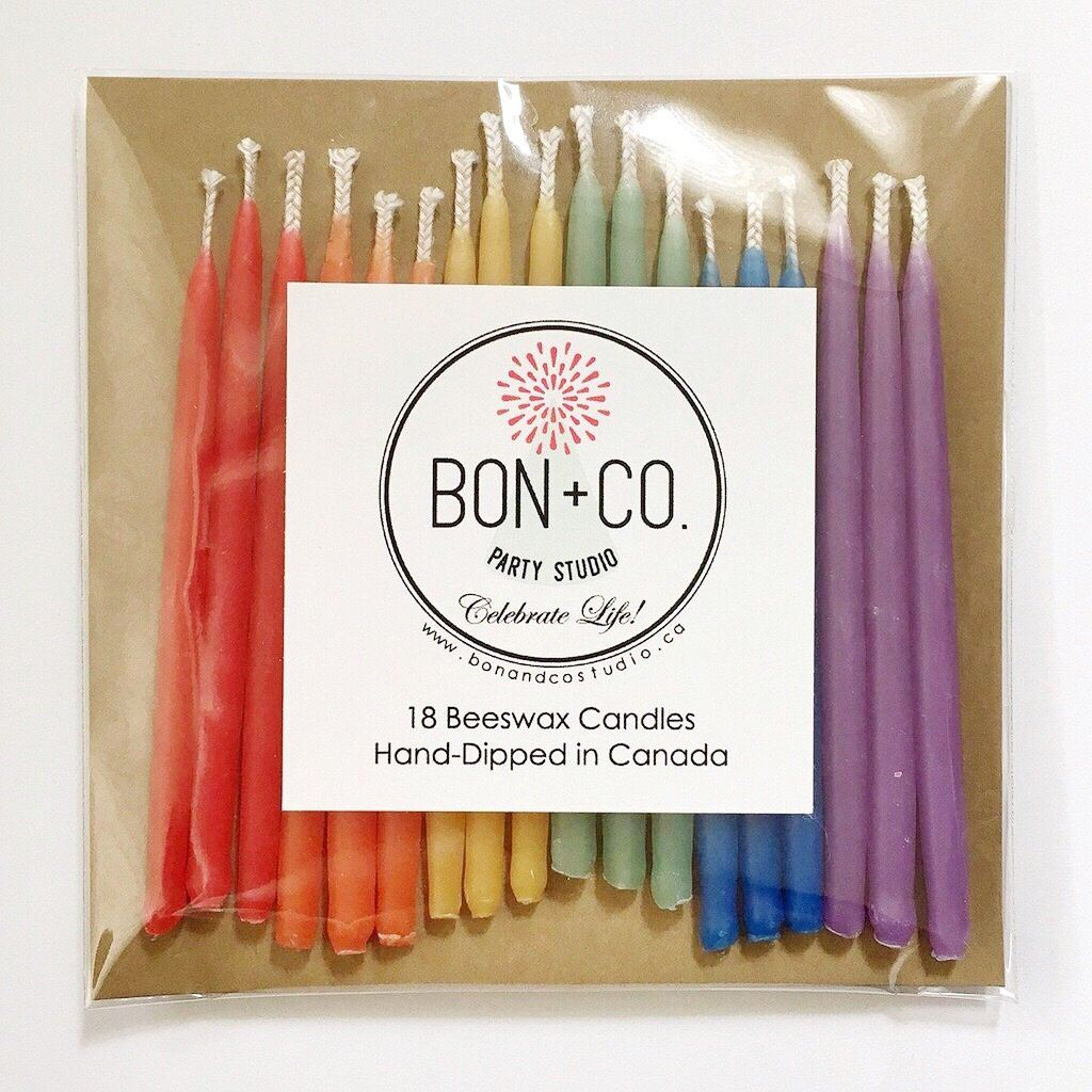 NATURAL PARTY CANDLES - BEESWAX RAINBOW, Candles + Sparklers, BON + CO - Bon + Co. Party Studio