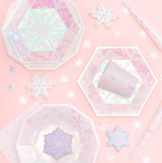 CUPS - FROSTED IRIDESCENT SNOWFLAKE, CUPS, Daydream Society - Bon + Co. Party Studio