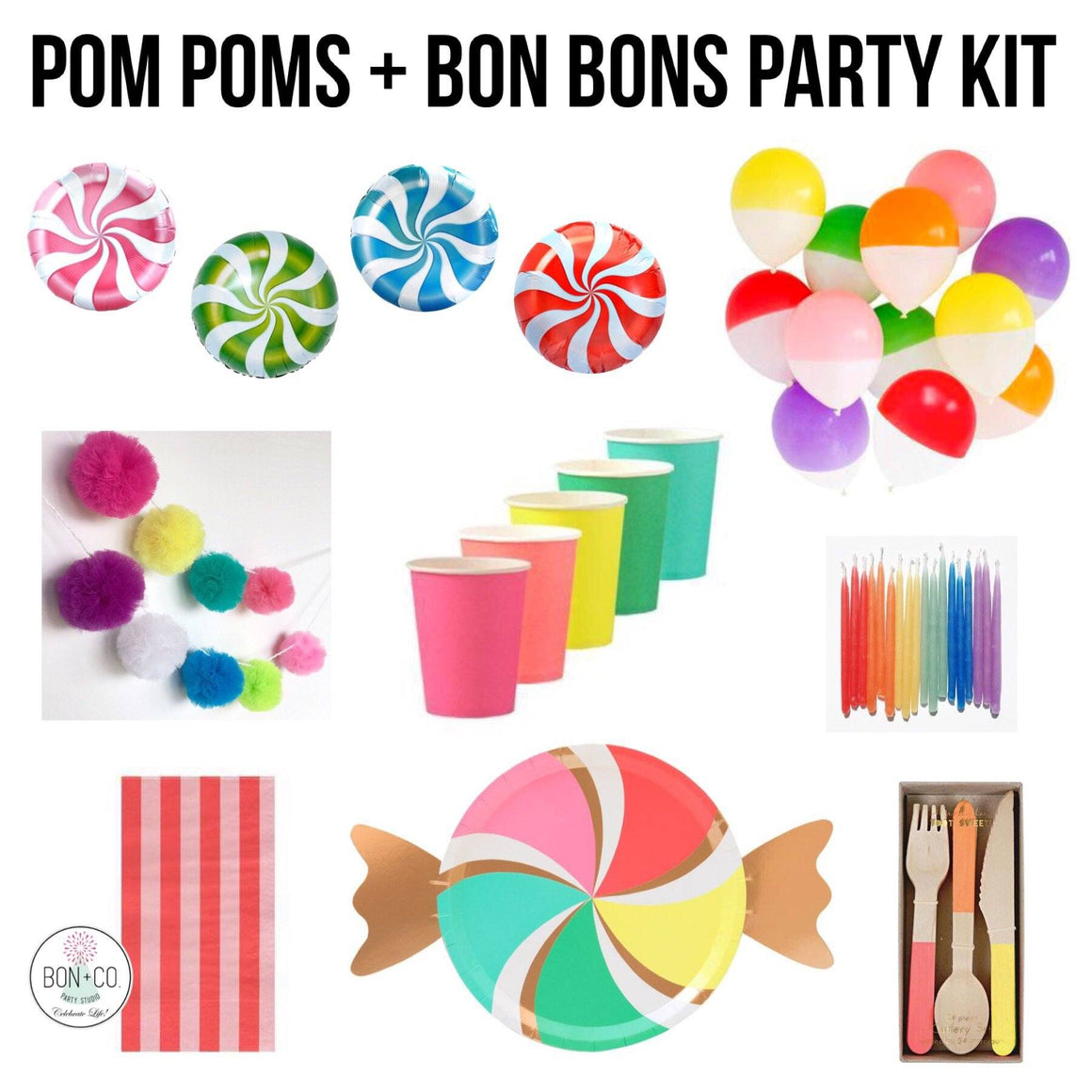 PARTY KIT - POM POMS + BON BONS, Party Kit, Bon + Co. Party Studio - Bon + Co. Party Studio