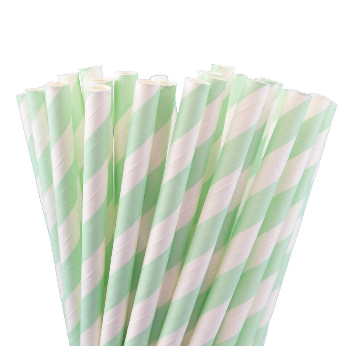 STRAWS - STRIPEY MINT GREEN