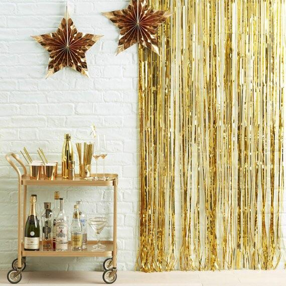 BACKDROP - FRINGE CURTAIN GOLD, Hanging decor, SKS - Beistle Co - Bon + Co. Party Studio