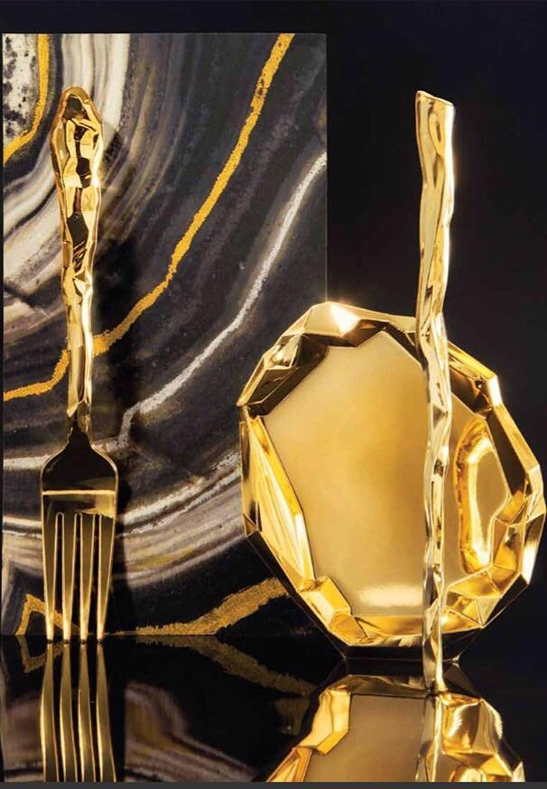 PREMIUM MINI APPETIZER FORKS - ROCK GOLD