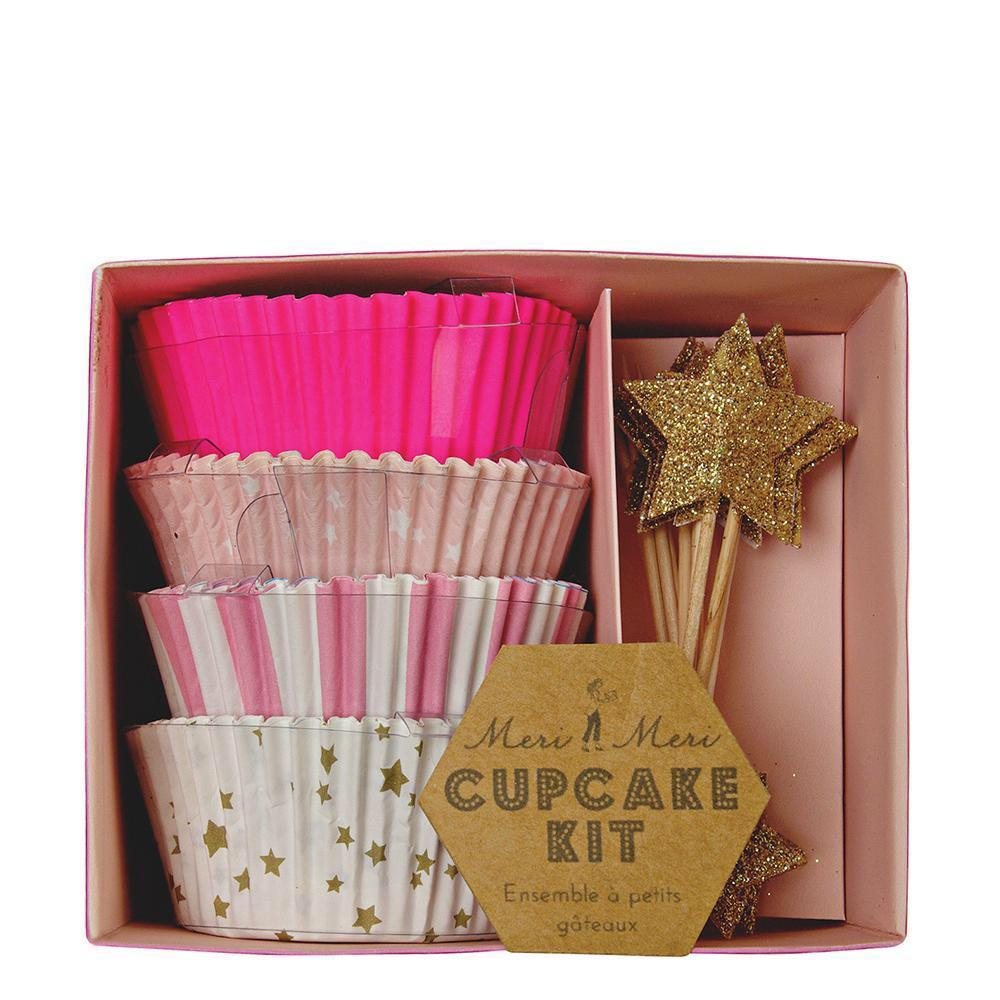 CUPCAKE KIT - MERI MERI STARS PINK, Picks + Toppers, MERI MERI - Bon + Co. Party Studio