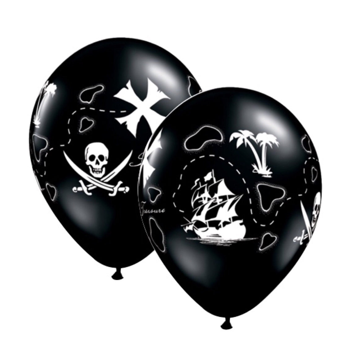 "BALLOON BAR - SEA LIFE PIRATE'S TREASURE MAP BLACK 11"", Balloons, QUALATEX - Bon + Co. Party Studio"