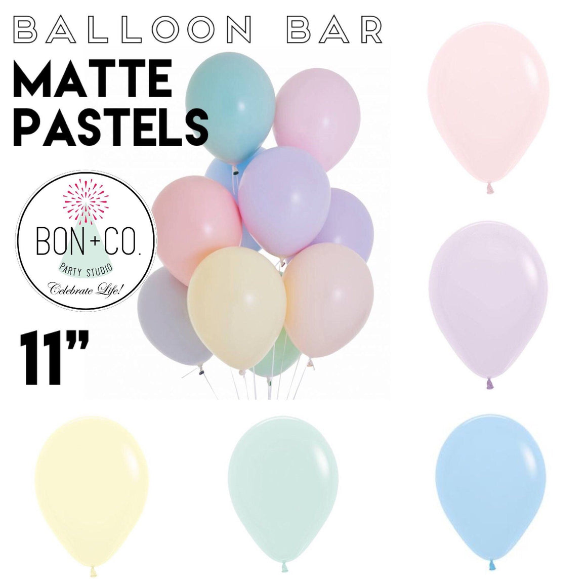 "BALLOON BAR - 11"" MATTE PASTELS, Balloons, Sempertex - Bon + Co. Party Studio"