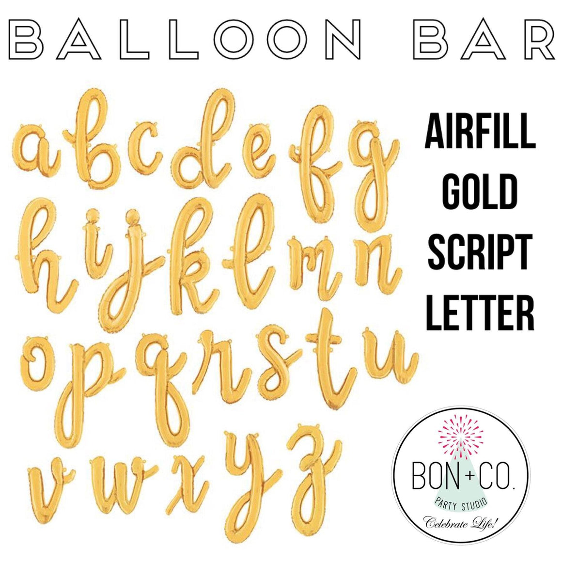 "BALLOON BAR - 14"" AIRFILL GOLD SCRIPT LETTERS, Balloons, BETALLIC - Bon + Co. Party Studio"