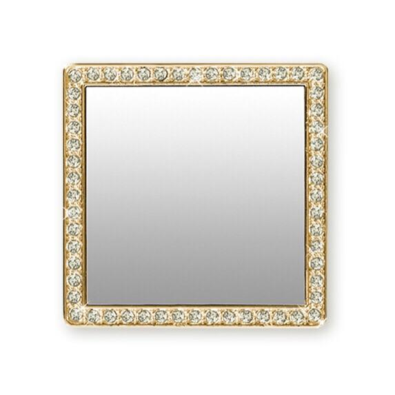 TECH - PHONE MIRROR GOLD CRYSTAL SQUARE
