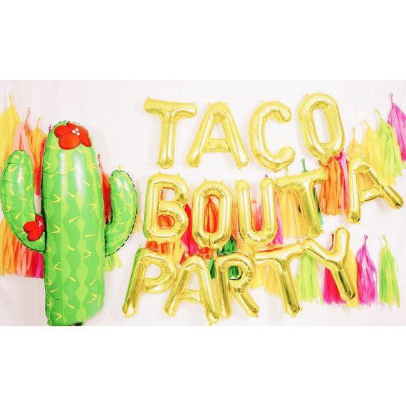 BALLOONS - FIESTA CACTUS WITH FLOWER, Balloons, BETALLIC - Bon + Co. Party Studio