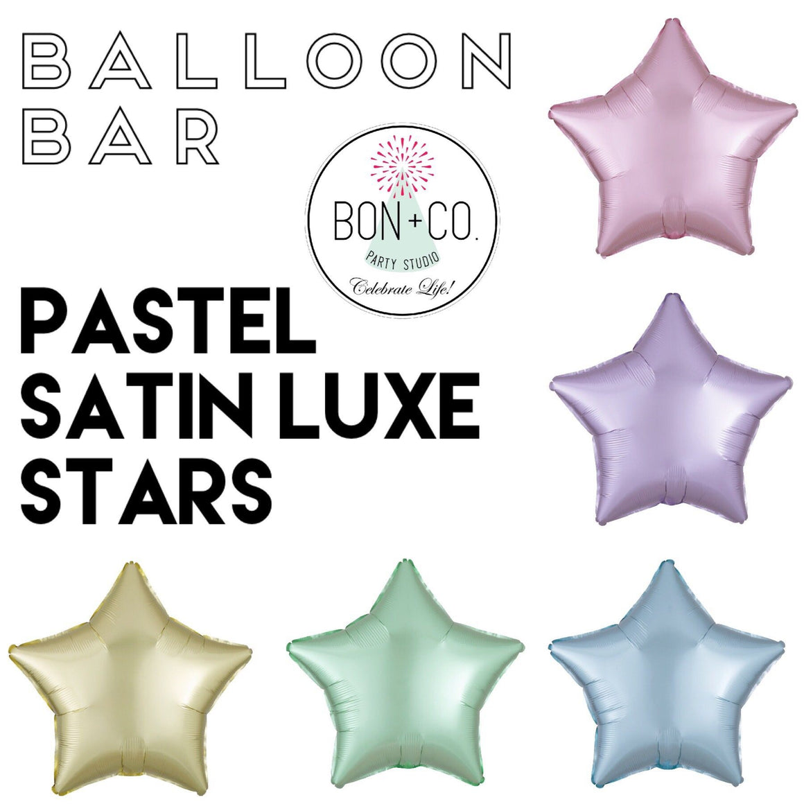 BALLOON BAR - STAR SATIN LUXE PASTEL, Balloons, Anagram - Bon + Co. Party Studio