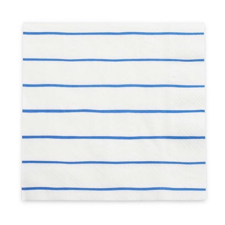NAPKINS - LARGE FRENCHIE STRIPE COBALT