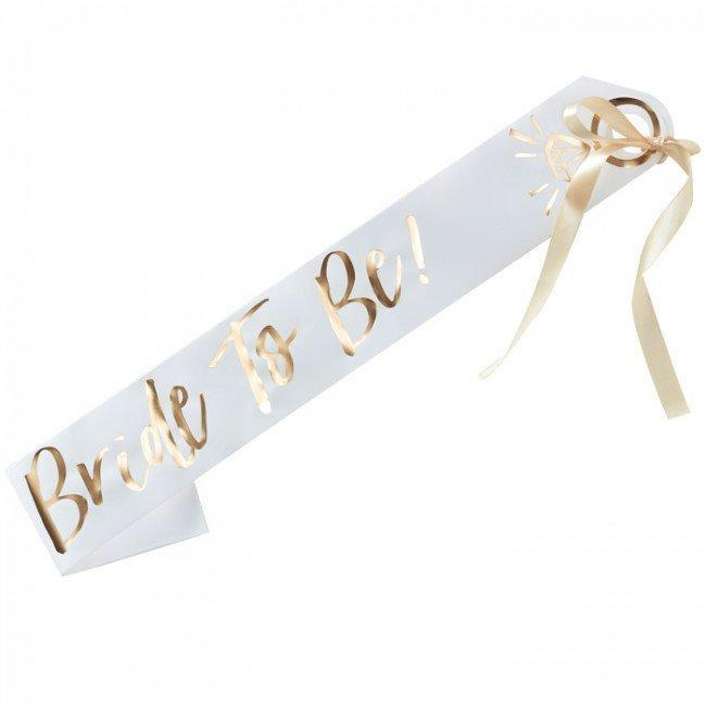 EXTRAS - BRIDE TO BE SASH IVORY GOLD, EXTRAS, GINGER RAY - Bon + Co. Party Studio