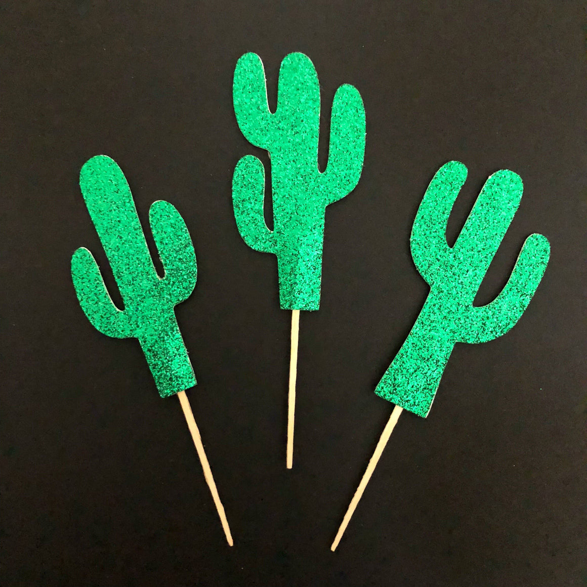 PARTY PICKS - CACTUS GREEN 2-SIDED, Picks + Toppers, BON + CO - Bon + Co. Party Studio