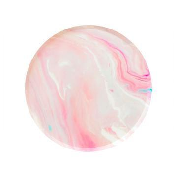 PLATES - SMALL PINK MARBLE OH HAPPY DAY, PLATES, Oh happy day - Bon + Co. Party Studio