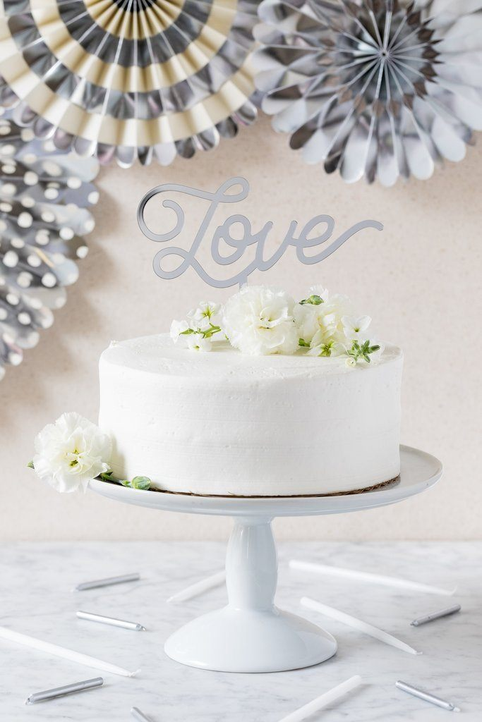 CAKE TOPPER - ACRYLIC LOVE SILVER MY MINDS EYE