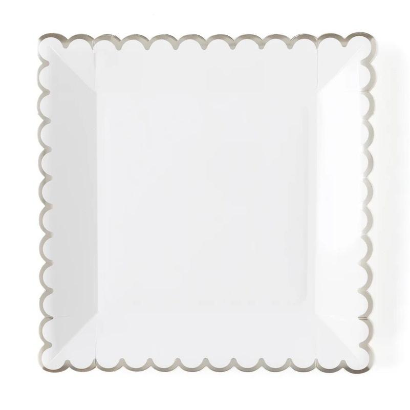 PLATES - LARGE SCALLOP WHITE + SILVER