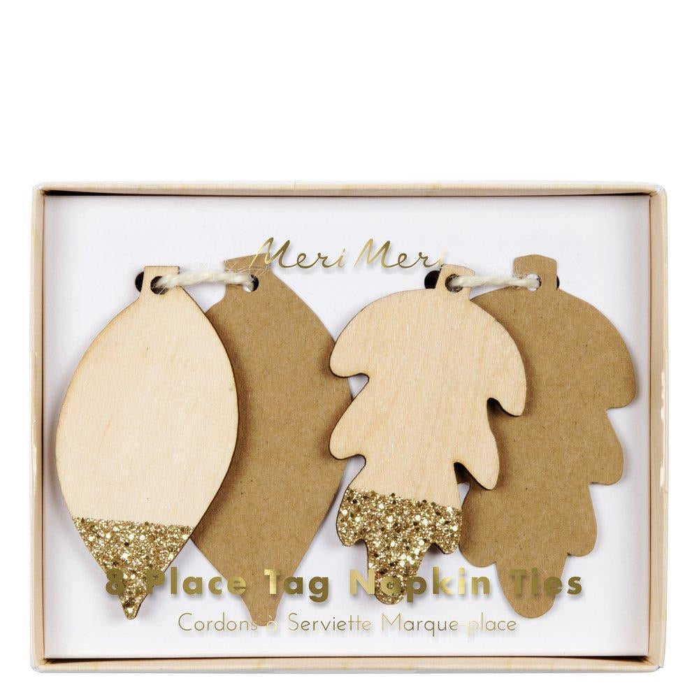 NAPKIN TIE - GLITTERED LEAF PLACE TAG