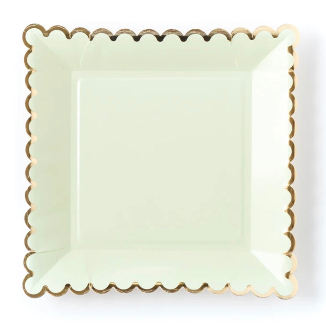 PLATES - LARGE SCALLOP MINT + GOLD