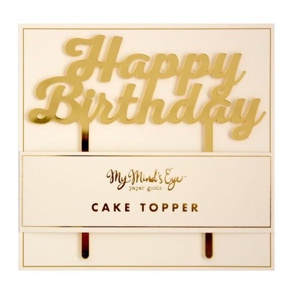 CAKE TOPPER - ACRYLIC HBD GOLD MY MINDS EYE, Picks + Toppers, My Minds Eye - Bon + Co. Party Studio