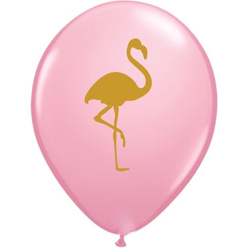 "BALLOON BAR - 11"" GOLD FLAMINGO ON PINK, Balloons, QUALATEX - Bon + Co. Party Studio"