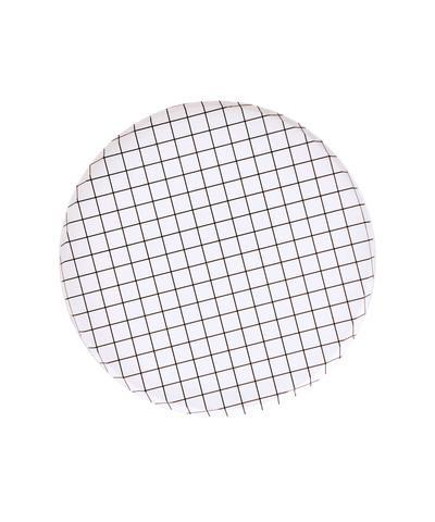 PLATES - SMALL BLACK + WHITE GRID OH HAPPY DAY