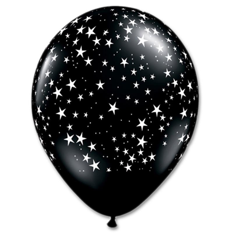 "BALLOON BAR - 11"" BLACK WITH STARS, Balloons, QUALATEX - Bon + Co. Party Studio"