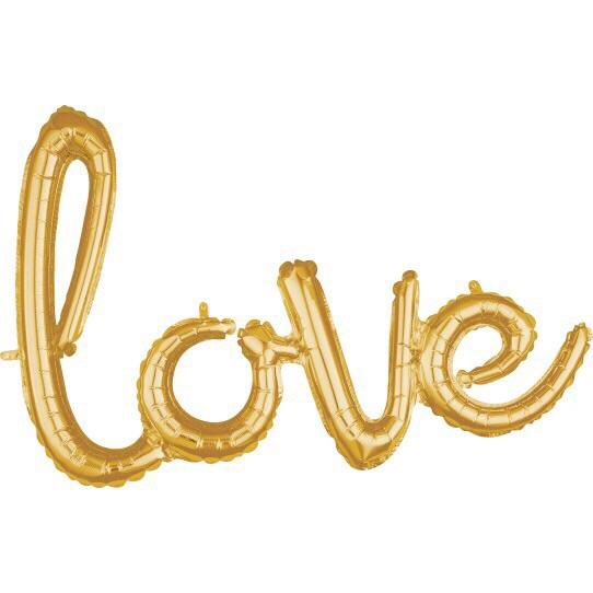 BALLOONS - SCRIPT LOVE GOLD, Balloons, BETALLIC - Bon + Co. Party Studio
