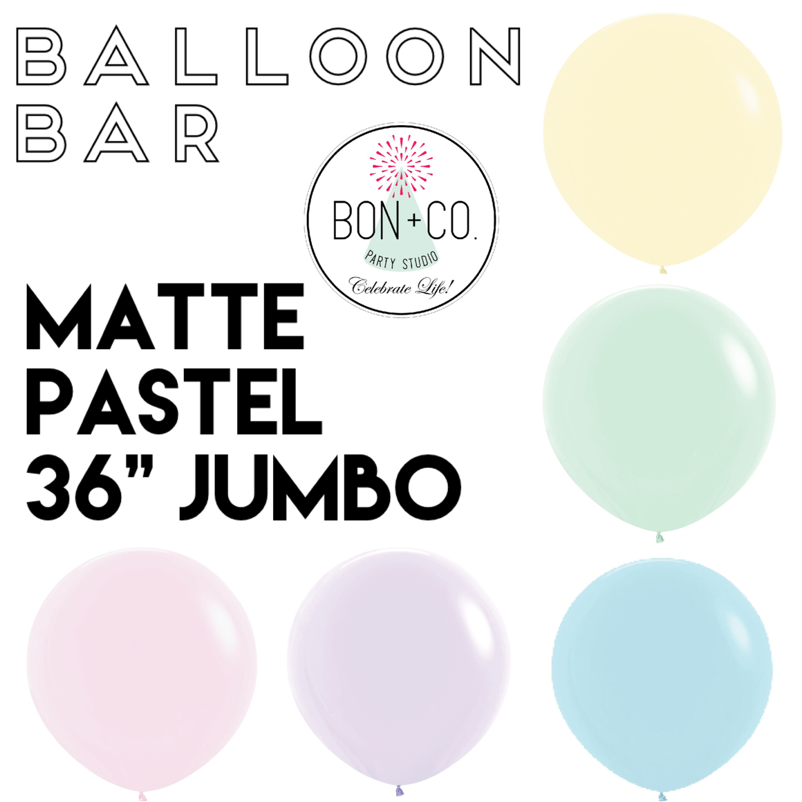 "BALLOON BAR - MATTE PASTELS 36"" JUMBO"