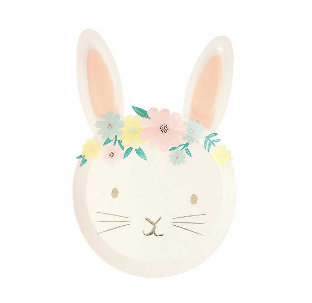 PLATES - LARGE FLORAL BUNNY