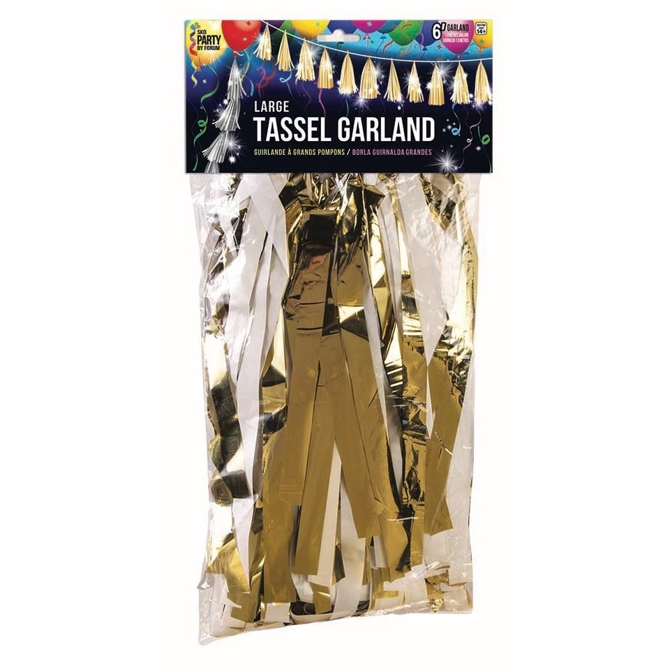 TASSEL GARLAND - WHITE + GOLD