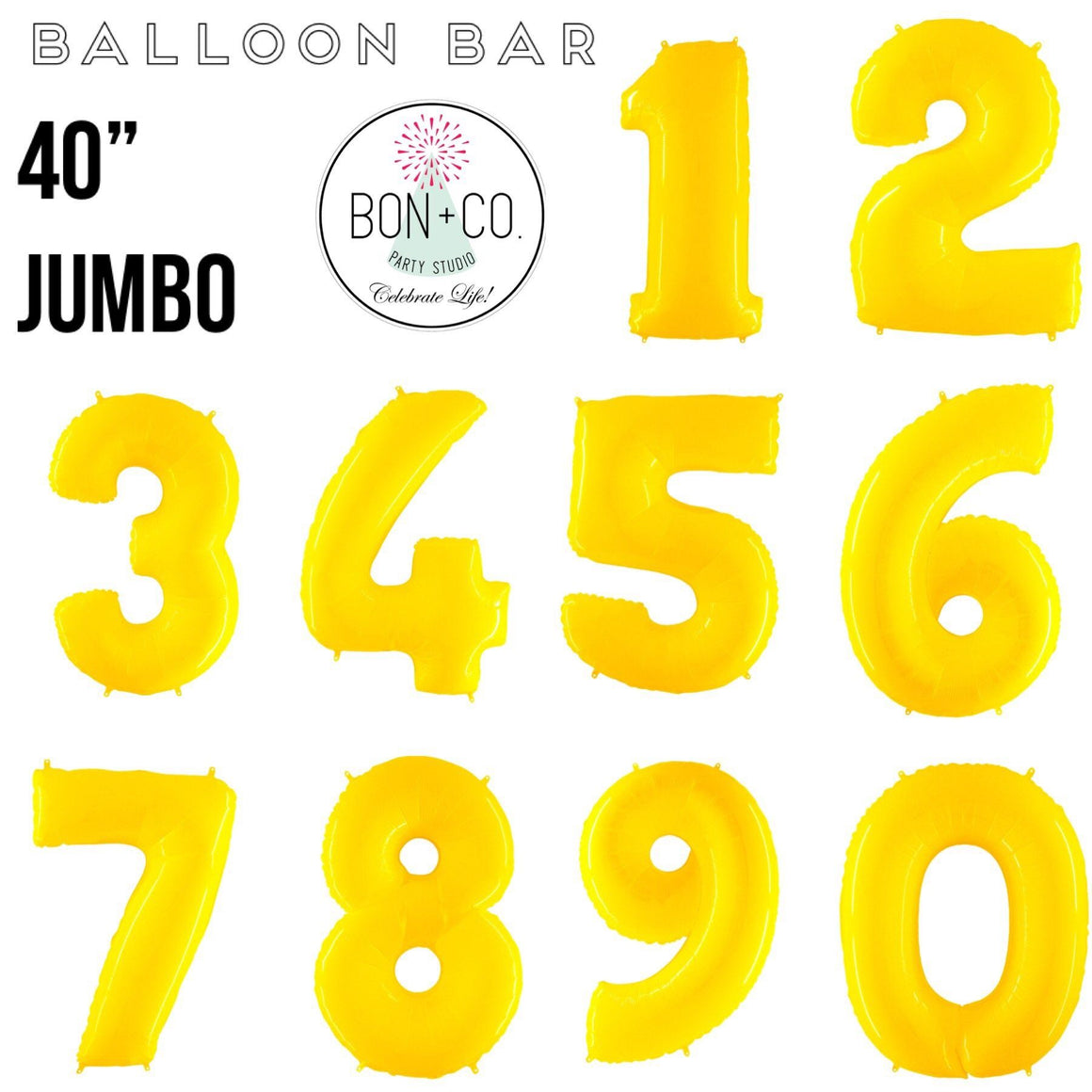 "BALLOON BAR - 40"" JUMBO NUMBER BRIGHT YELLOW, Balloons, bargain balloons - Bon + Co. Party Studio"
