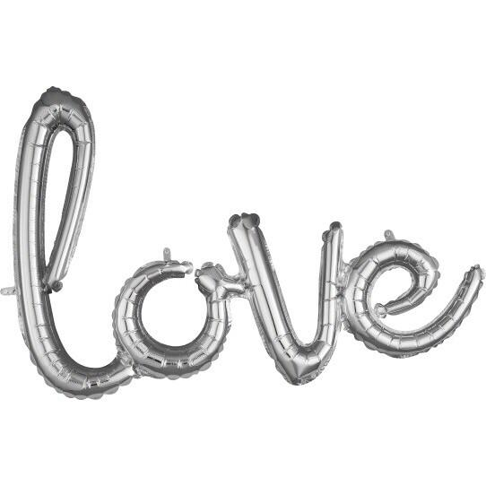 BALLOONS - SCRIPT LOVE SILVER, Balloons, BETALLIC - Bon + Co. Party Studio