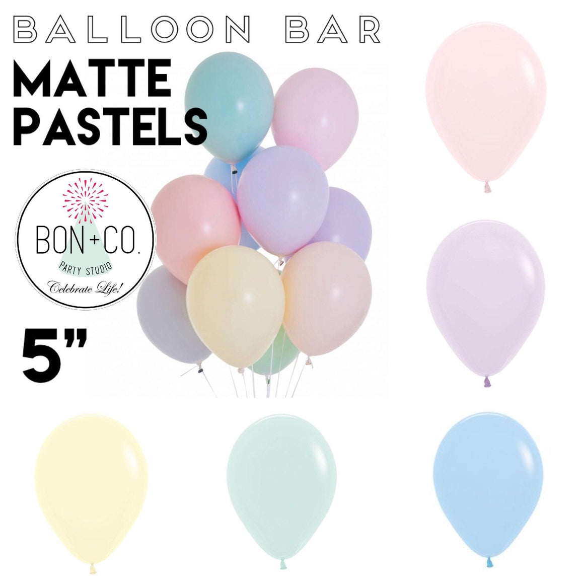 "BALLOON BAR - 5"" MATTE PASTELS, Balloons, Sempertex - Bon + Co. Party Studio"