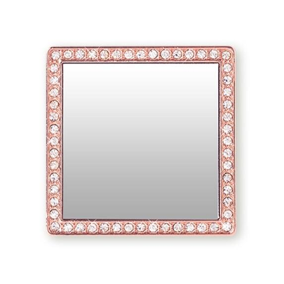 TECH - PHONE MIRROR ROSE GOLD CRYSTAL SQUARE