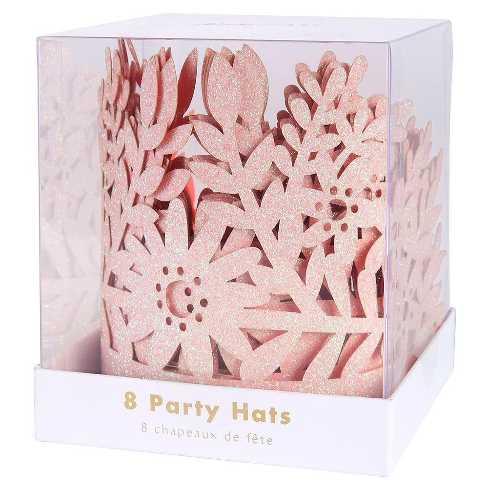 PARTY HATS - CROWNS GLITTER PINK FLOWER 8 PACK