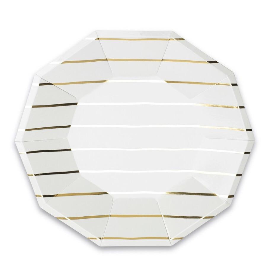 PLATES - LARGE DAYDREAM SOCIETY FRENCHIE STRIPES GOLD