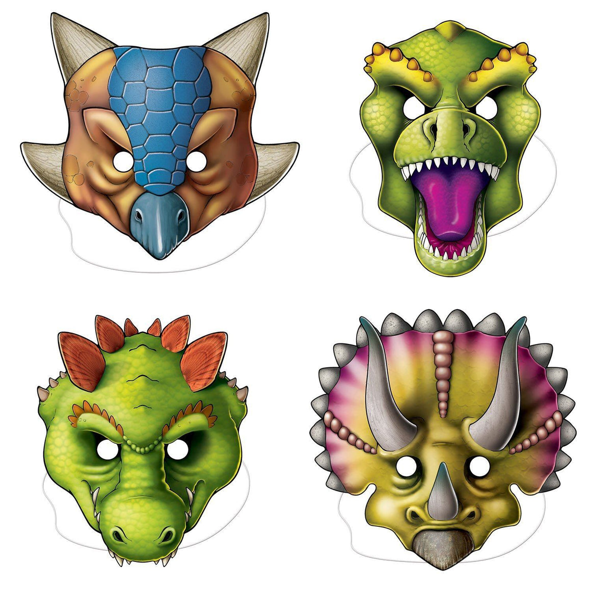 MASKS - DINOSAUR 4 PACK, dress up, SKS - Beistle Co - Bon + Co. Party Studio
